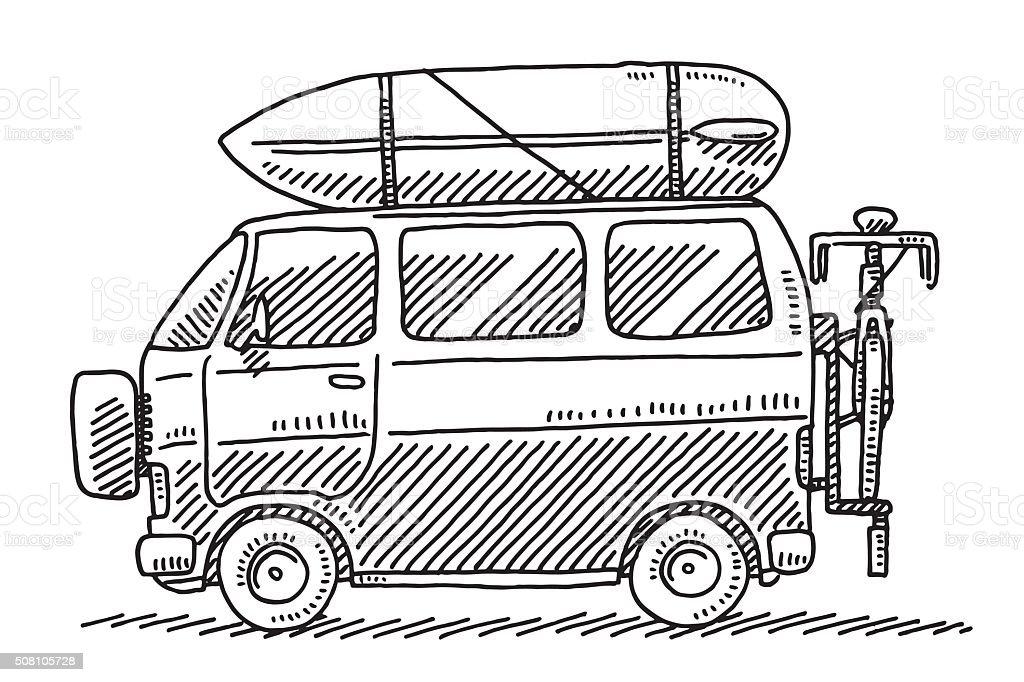 Camping Van Summer Vacation Drawing vector art illustration