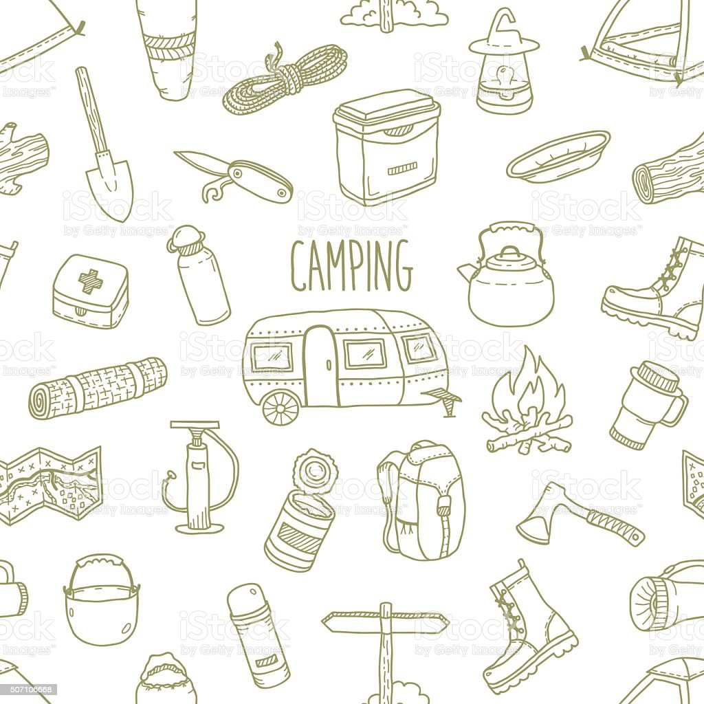 Camping vector hand drawn seamless pattern vector art illustration