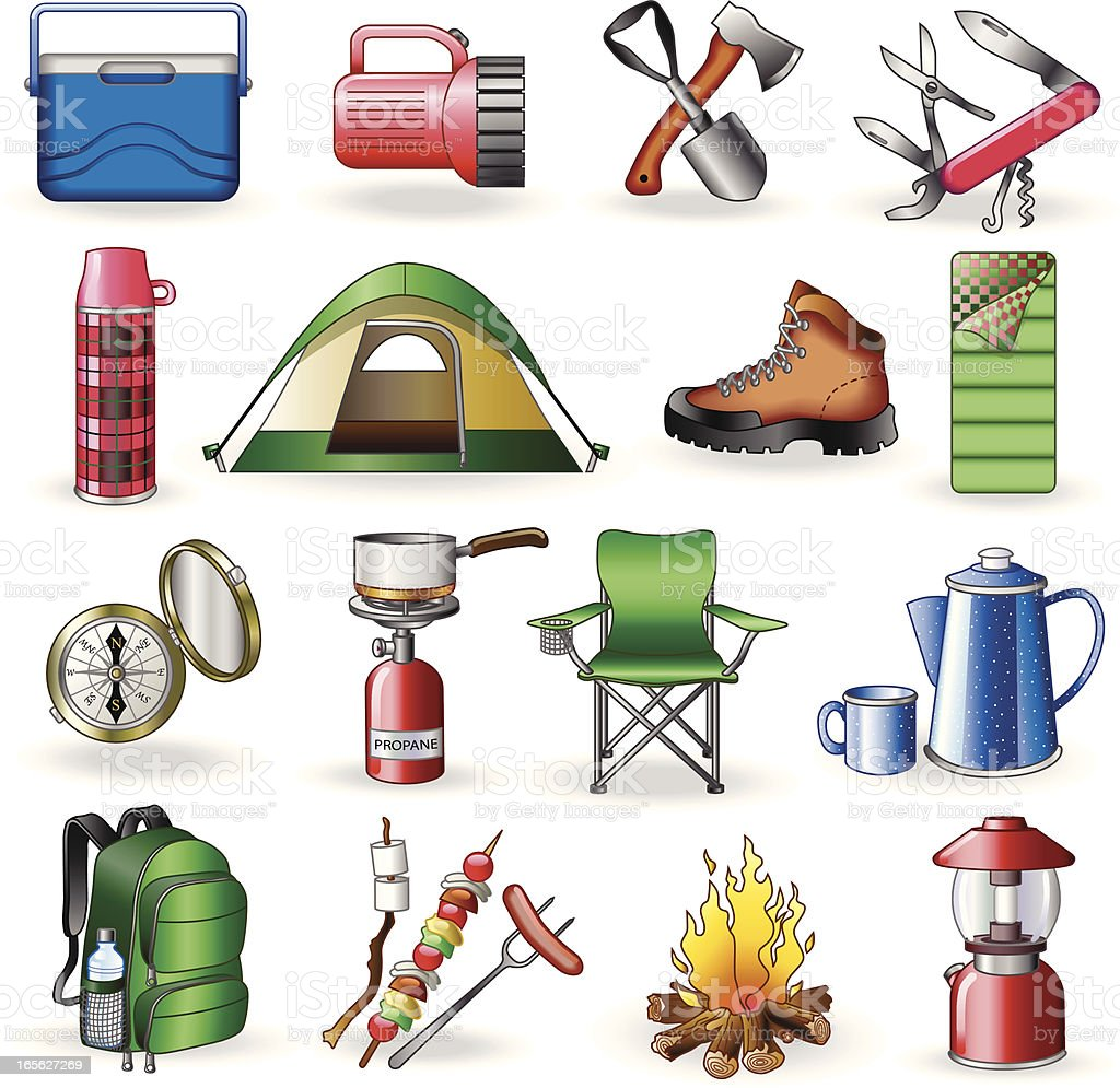 camping vector art illustration