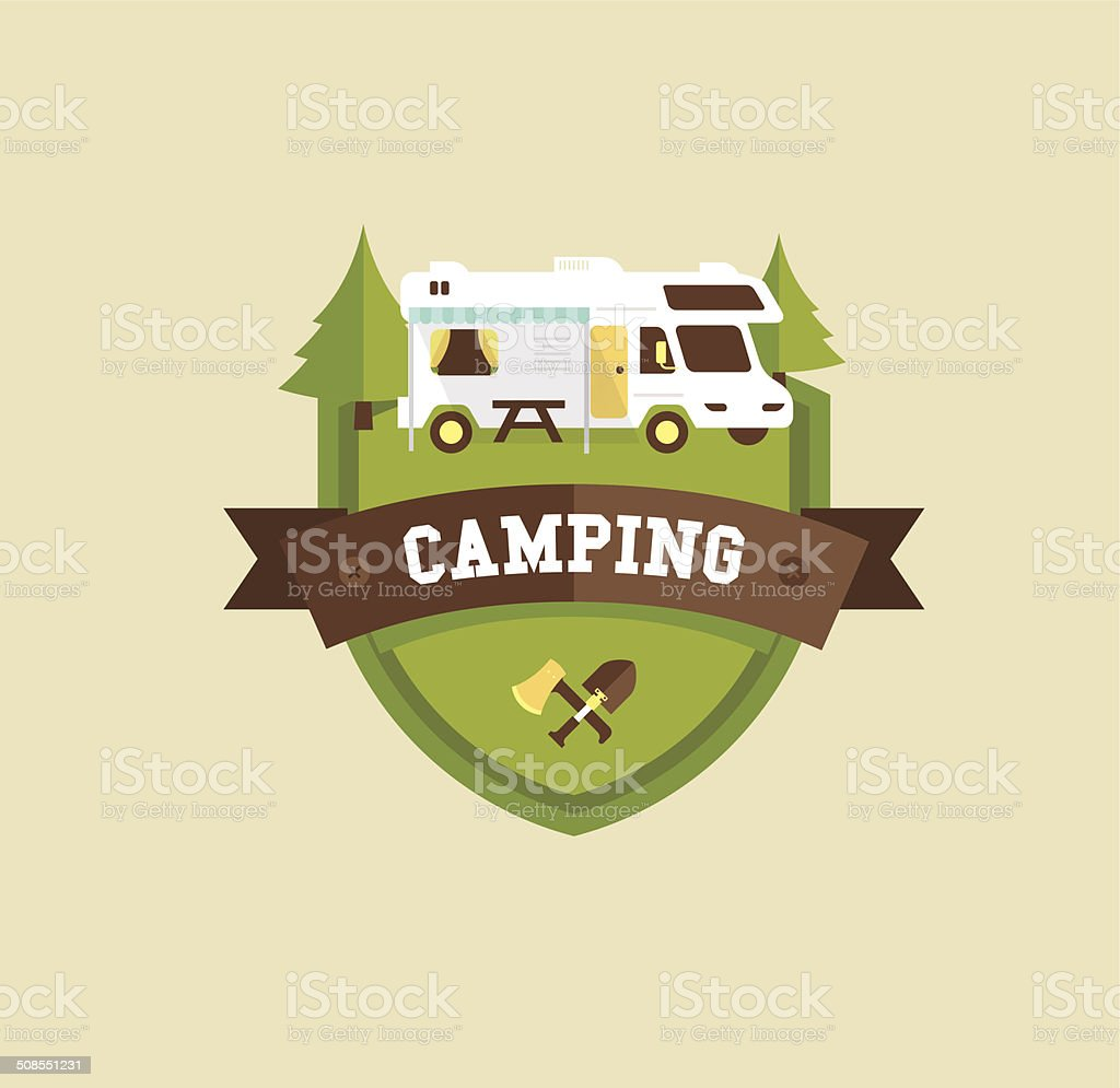 RV camping vector art illustration