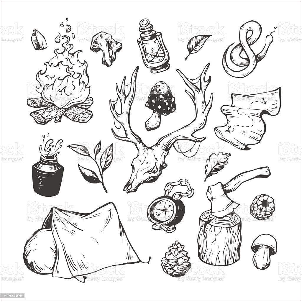 Camping. vector art illustration