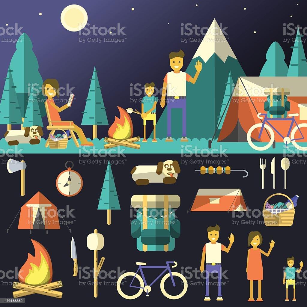 Camping vector illustration. vector art illustration