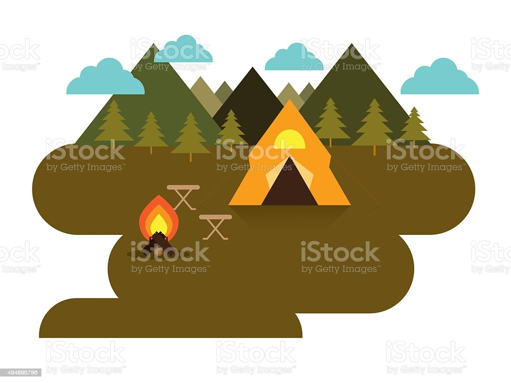 camping vector vector art illustration