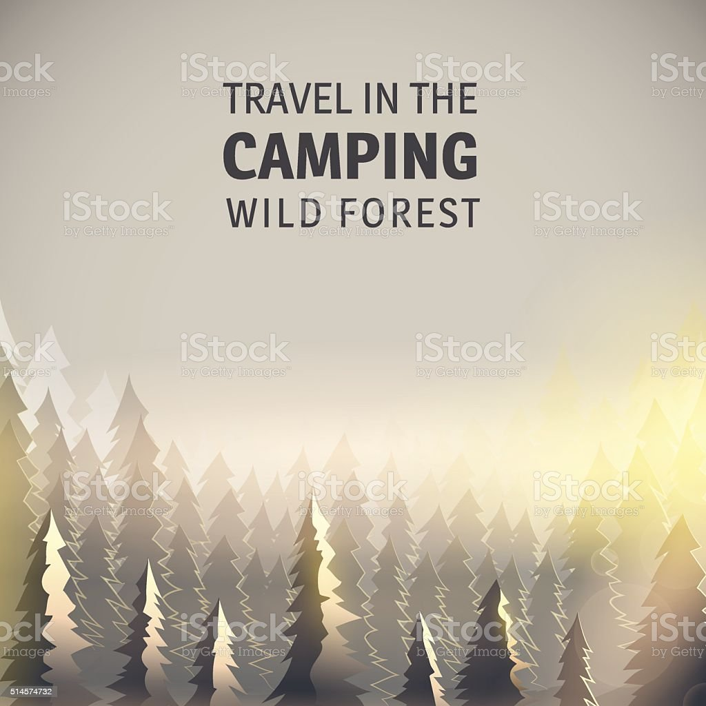 Camping, wild forest and wildlife. vector art illustration