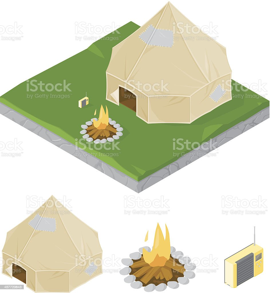 Camping with log fire vector art illustration