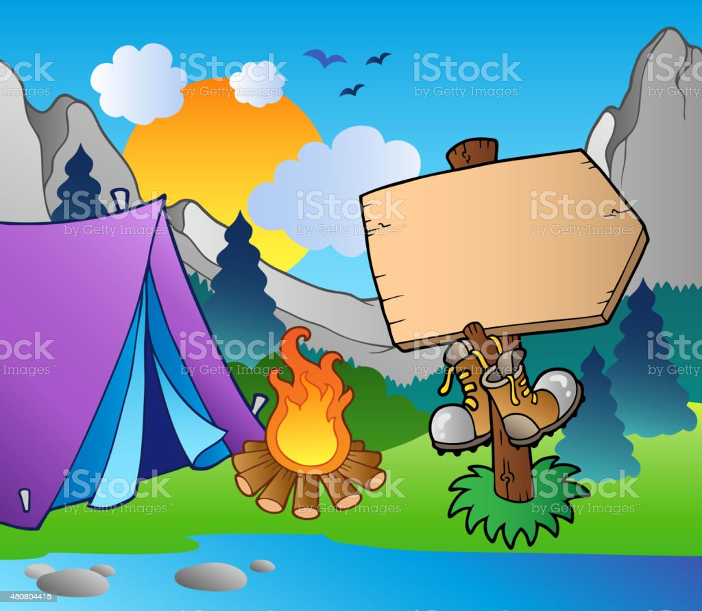 Camping wooden sign on lake shore royalty-free stock vector art