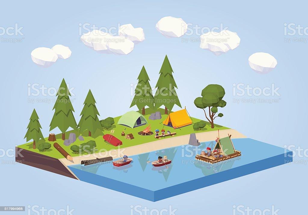 Campsite near the river vector art illustration