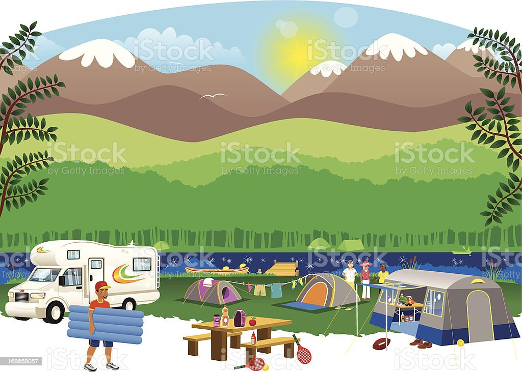 Campsite scene in the countryside vector art illustration