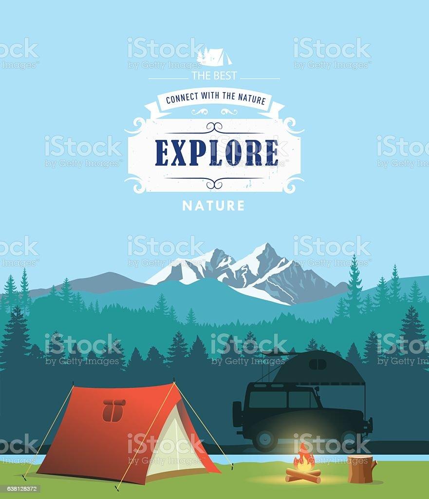 Campsite vector art illustration