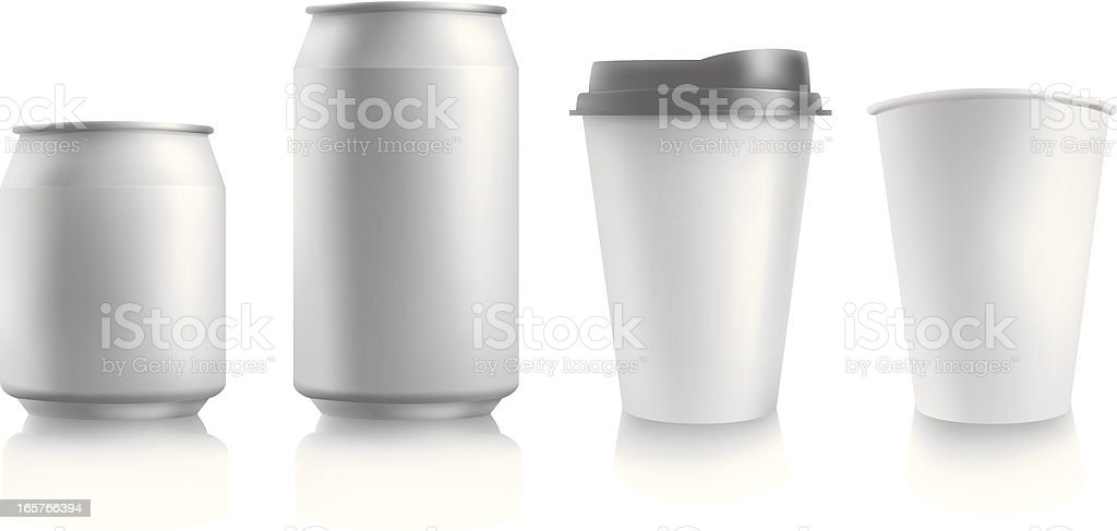 can and paper glass. vector art illustration