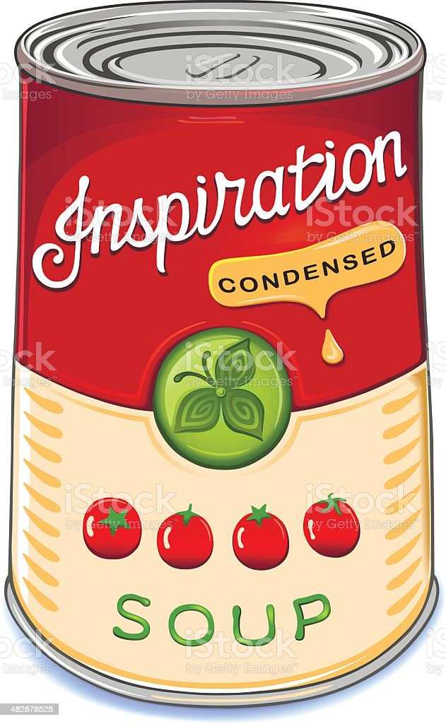 Can of condensed tomato soup Inspiration vector art illustration