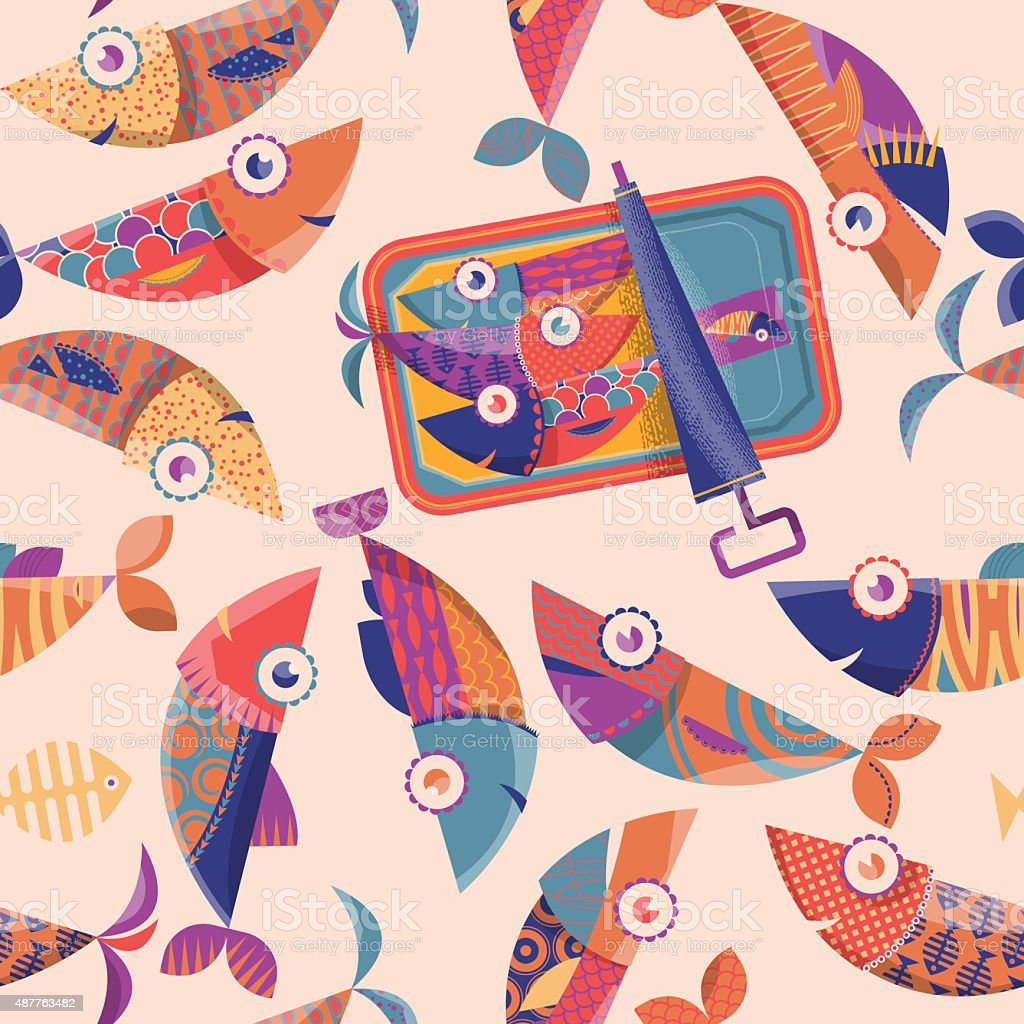 Can of sardines and multi-colored fishes. Seamless background pattern. vector art illustration
