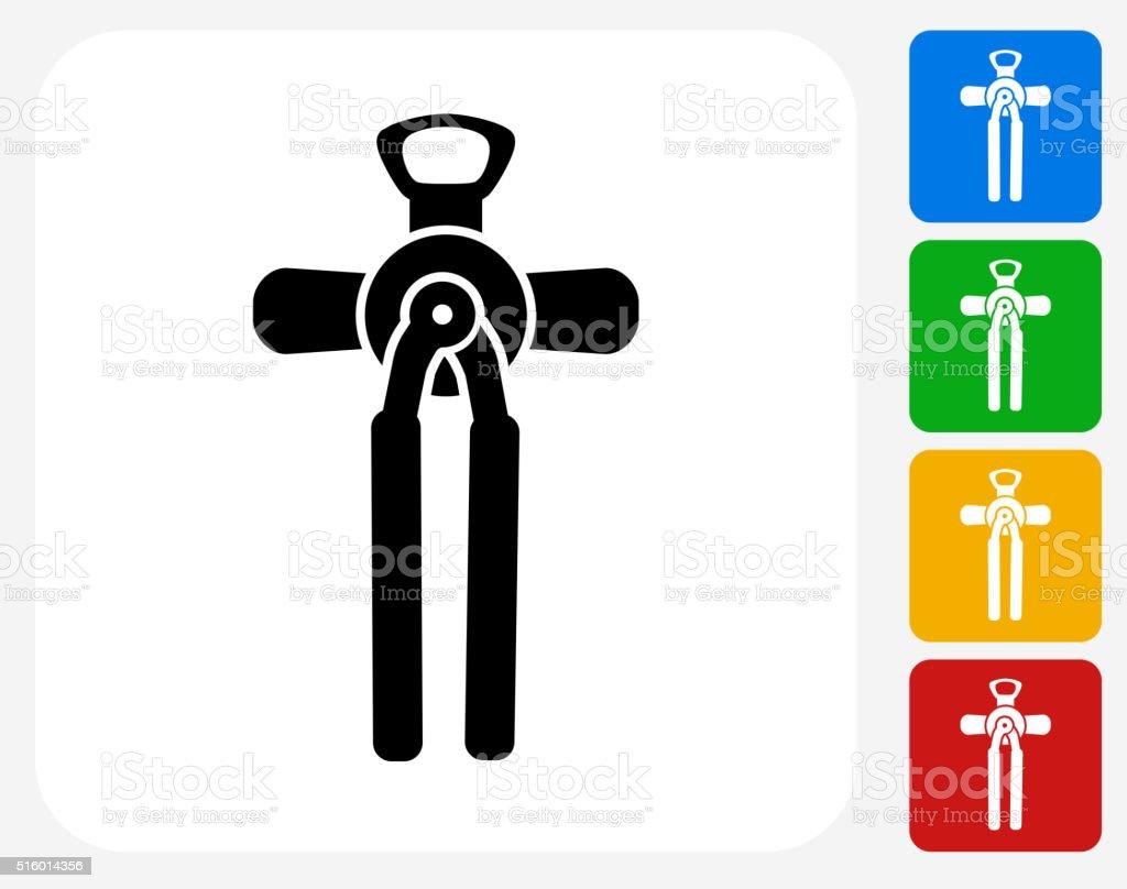 Can Opener Icon Flat Graphic Design vector art illustration