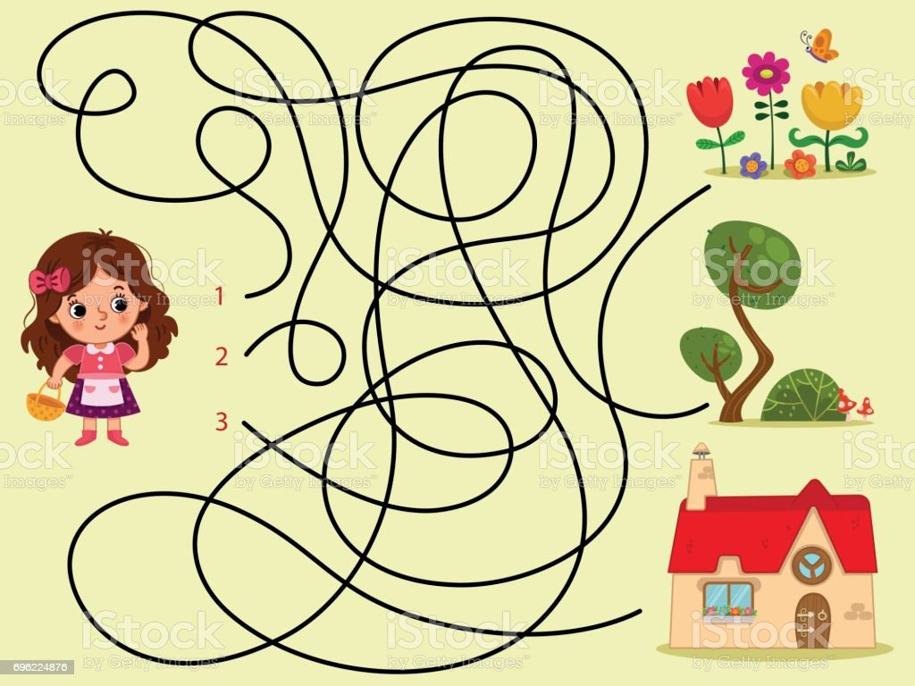 Can you help the girl to find her house? vector art illustration
