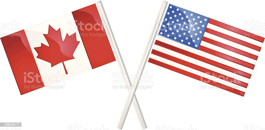 Canada and US flags royalty-free stock vector art
