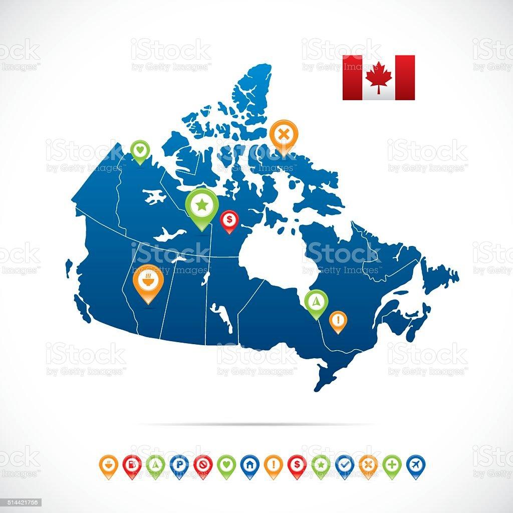 Canada Blue Map vector art illustration