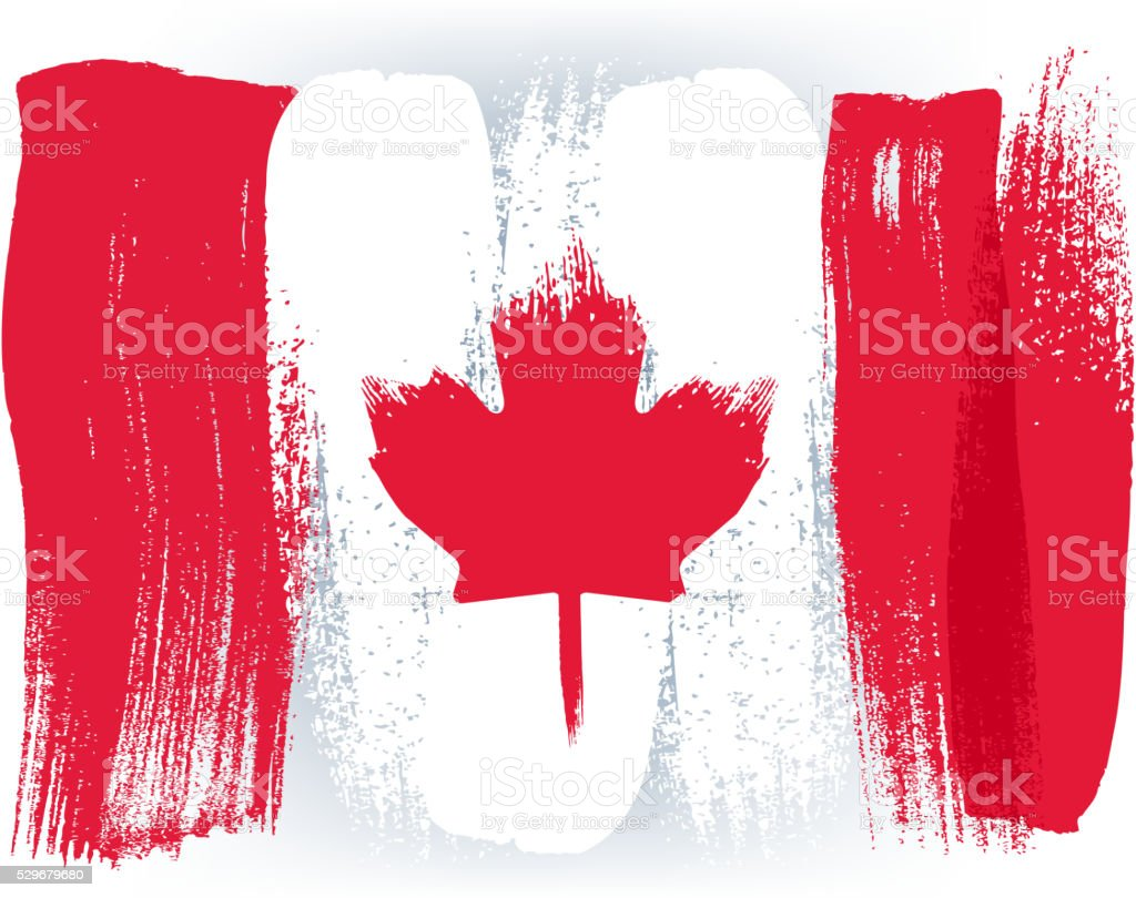 Canada colorful brush strokes painted flag vector art illustration