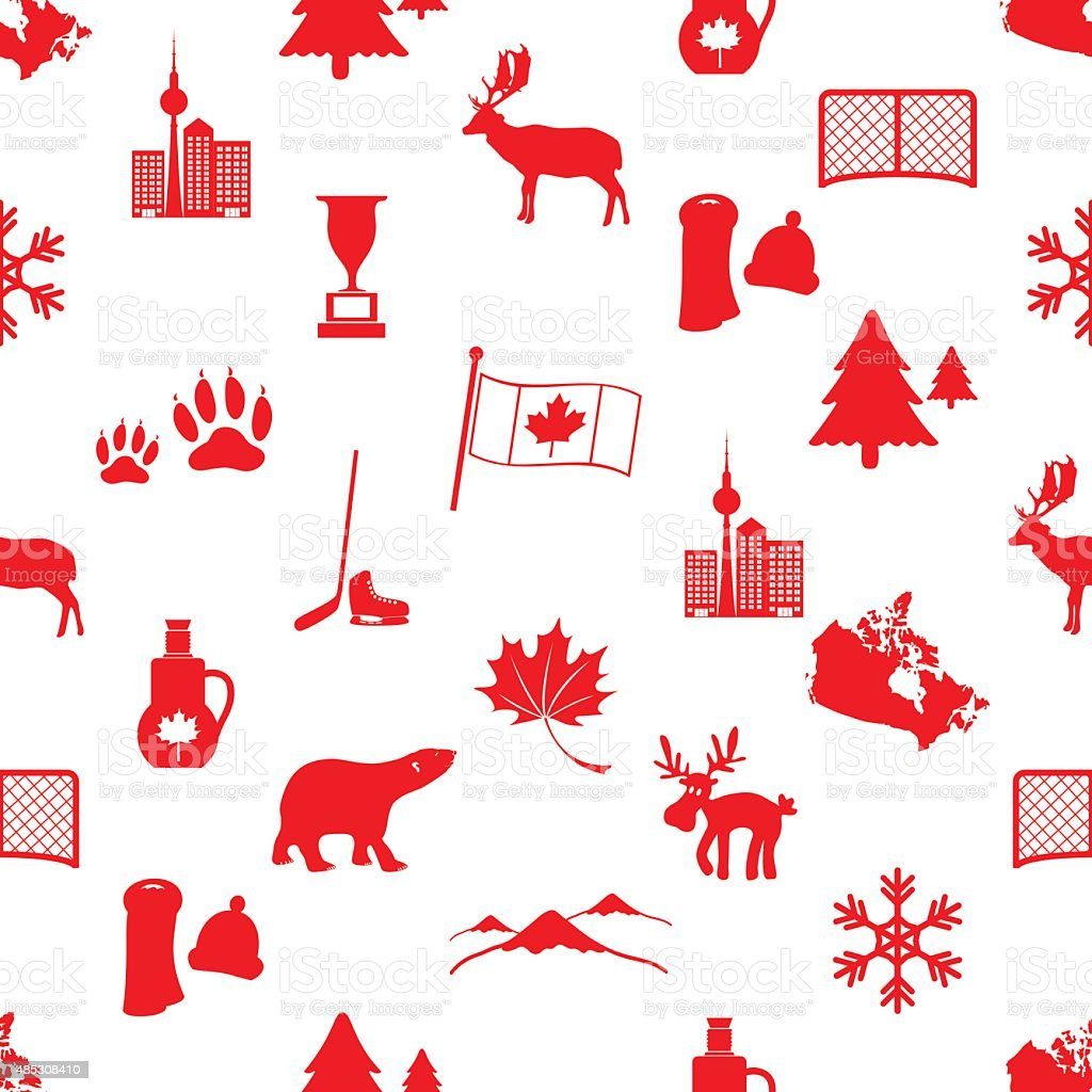 canada country theme symbols icons seamless pattern eps10 vector art illustration