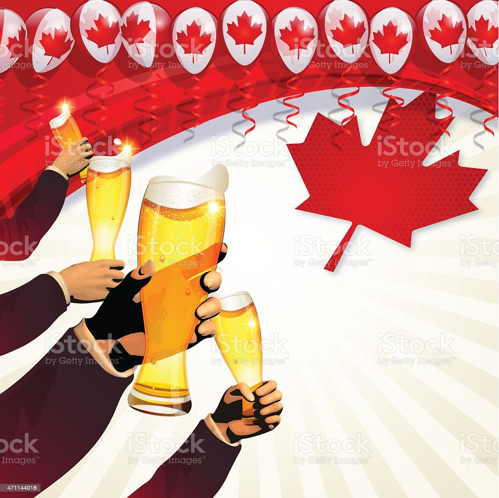 Canada Day background[Cheers!] vector art illustration