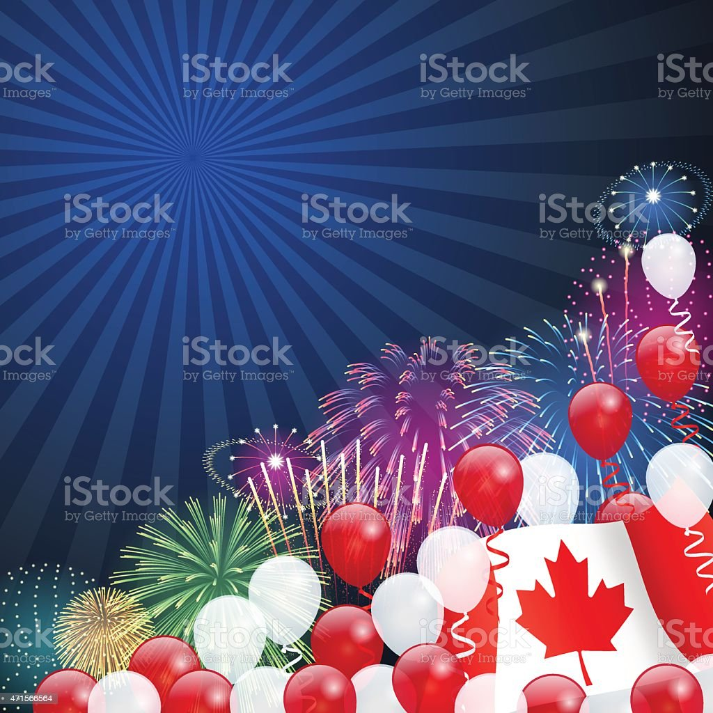 Canada Day background[Fireworks and Maple Leaf] vector art illustration