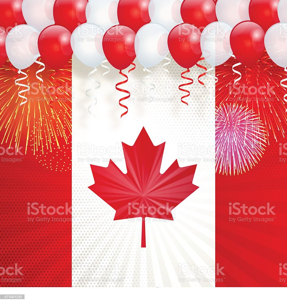 Canada Day background[Maple Leaf and balloons] vector art illustration