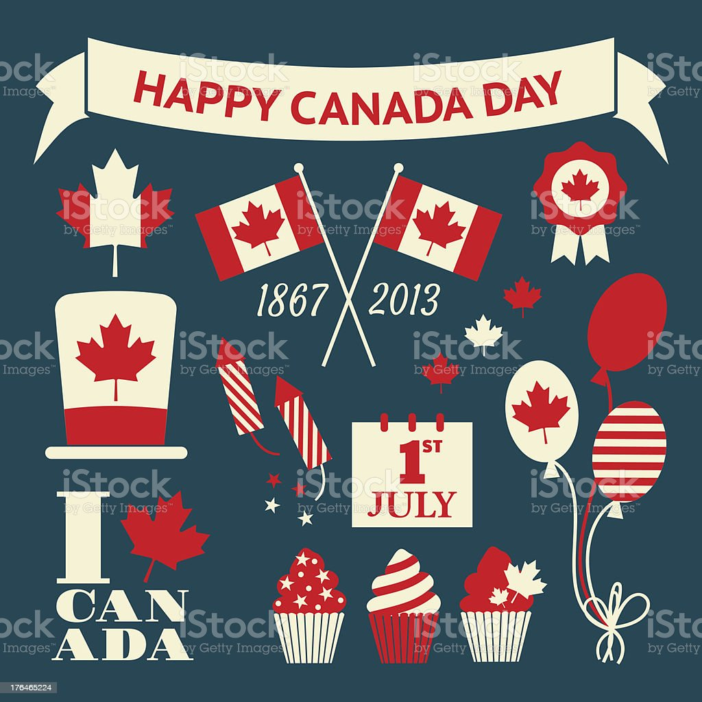 Canada Day Design Elements Set vector art illustration