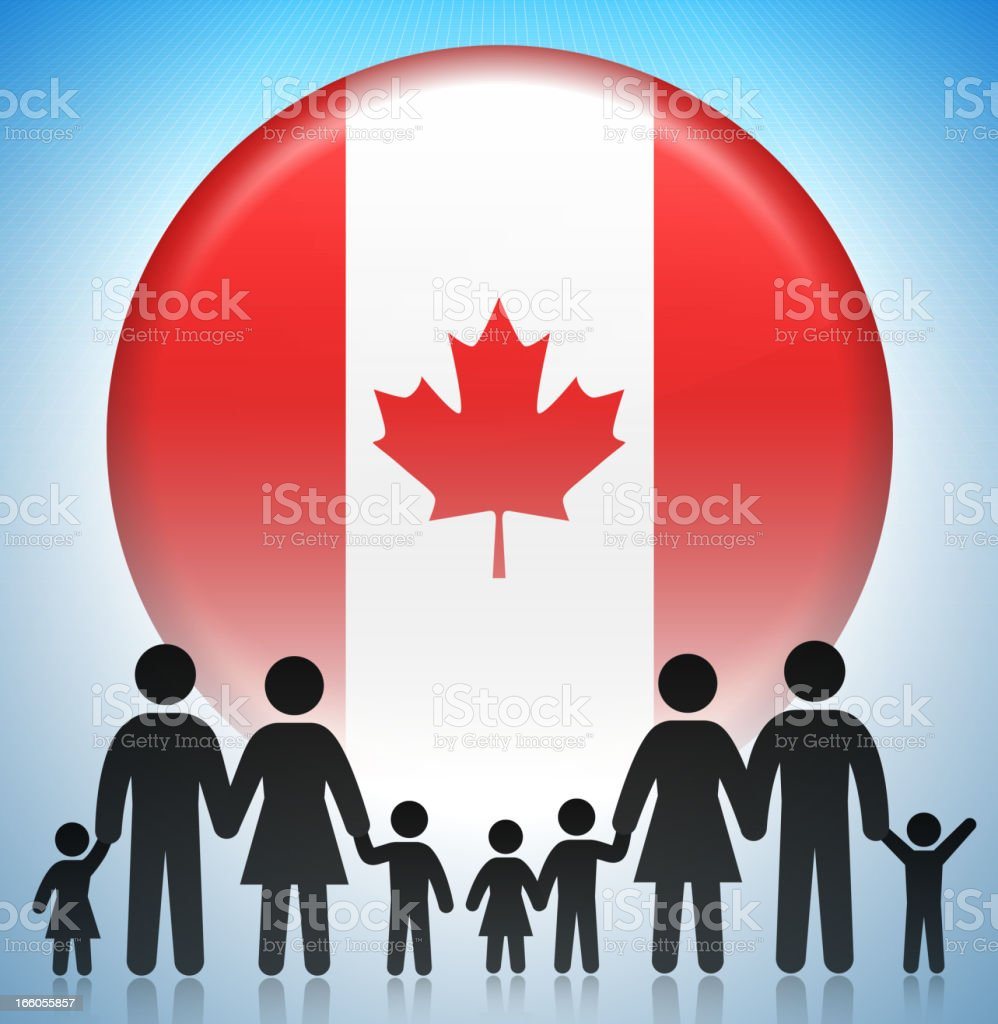 Canada Family Concept Stick Figures royalty-free stock vector art