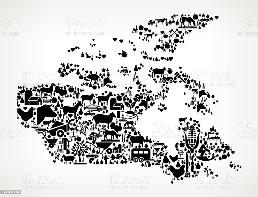 Canada Farming and Agriculture Black Icon Pattern vector art illustration