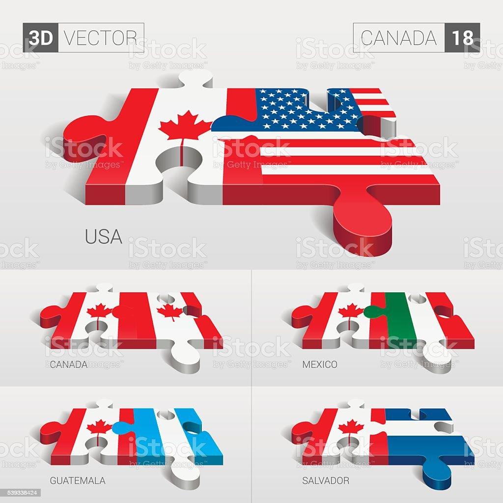 Canada Flag. 3d vector puzzle. Set 18. vector art illustration