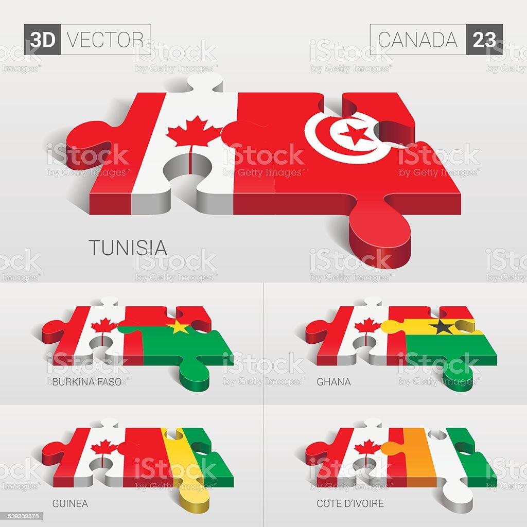 Canada Flag. 3d vector puzzle. Set 23. vector art illustration