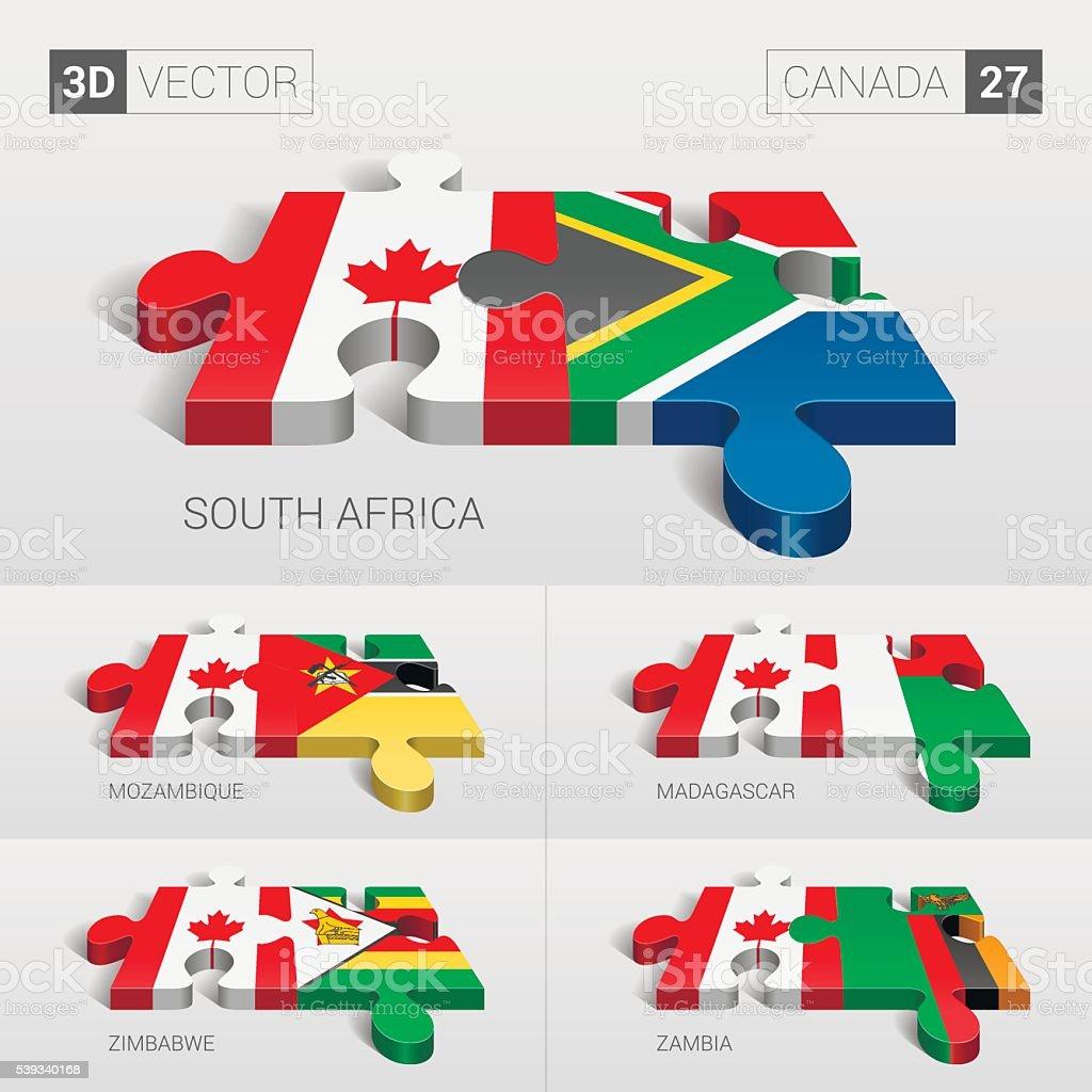 Canada Flag. 3d vector puzzle. Set 27. vector art illustration