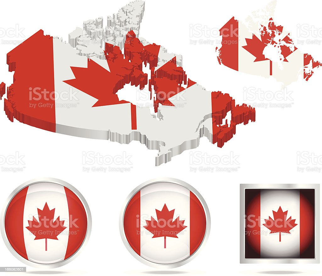 Canada flag and map assets royalty-free stock vector art