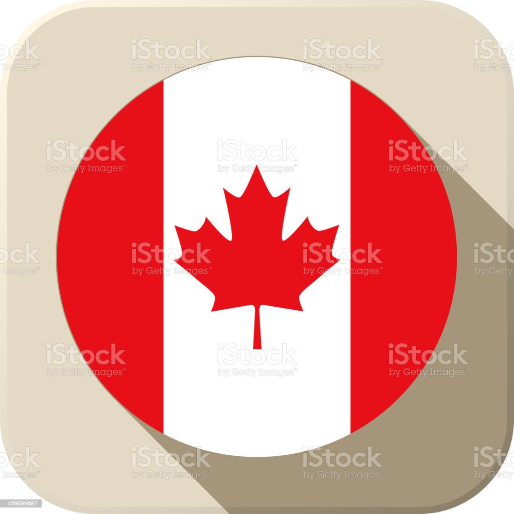Canada Flag Button Icon Modern vector art illustration