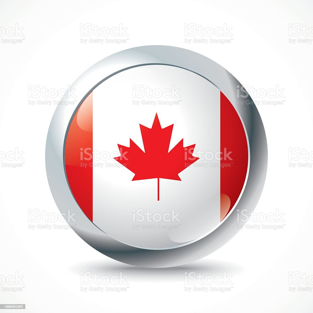 Canada flag button vector art illustration