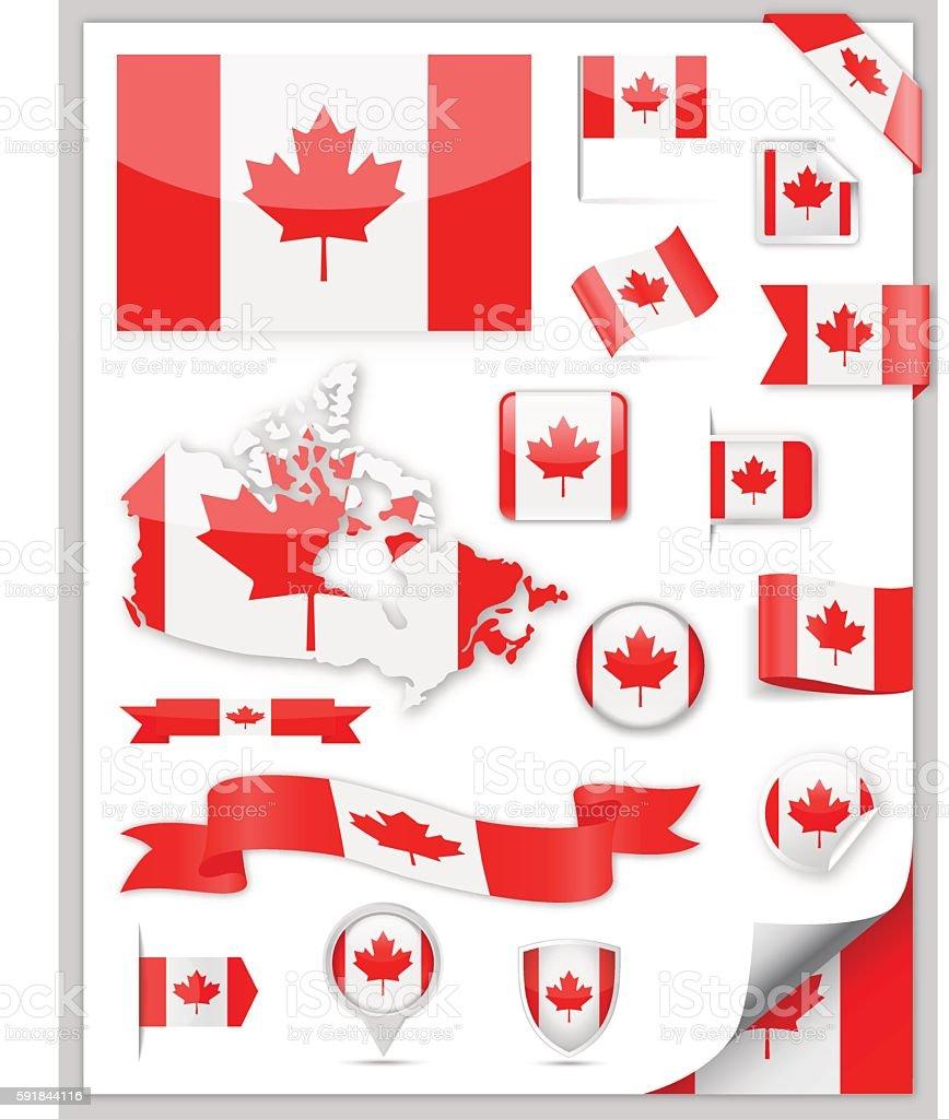 Canada Flag Collection vector art illustration