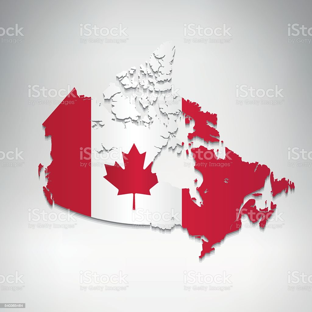 Canada flag map on grey clean background vector art illustration
