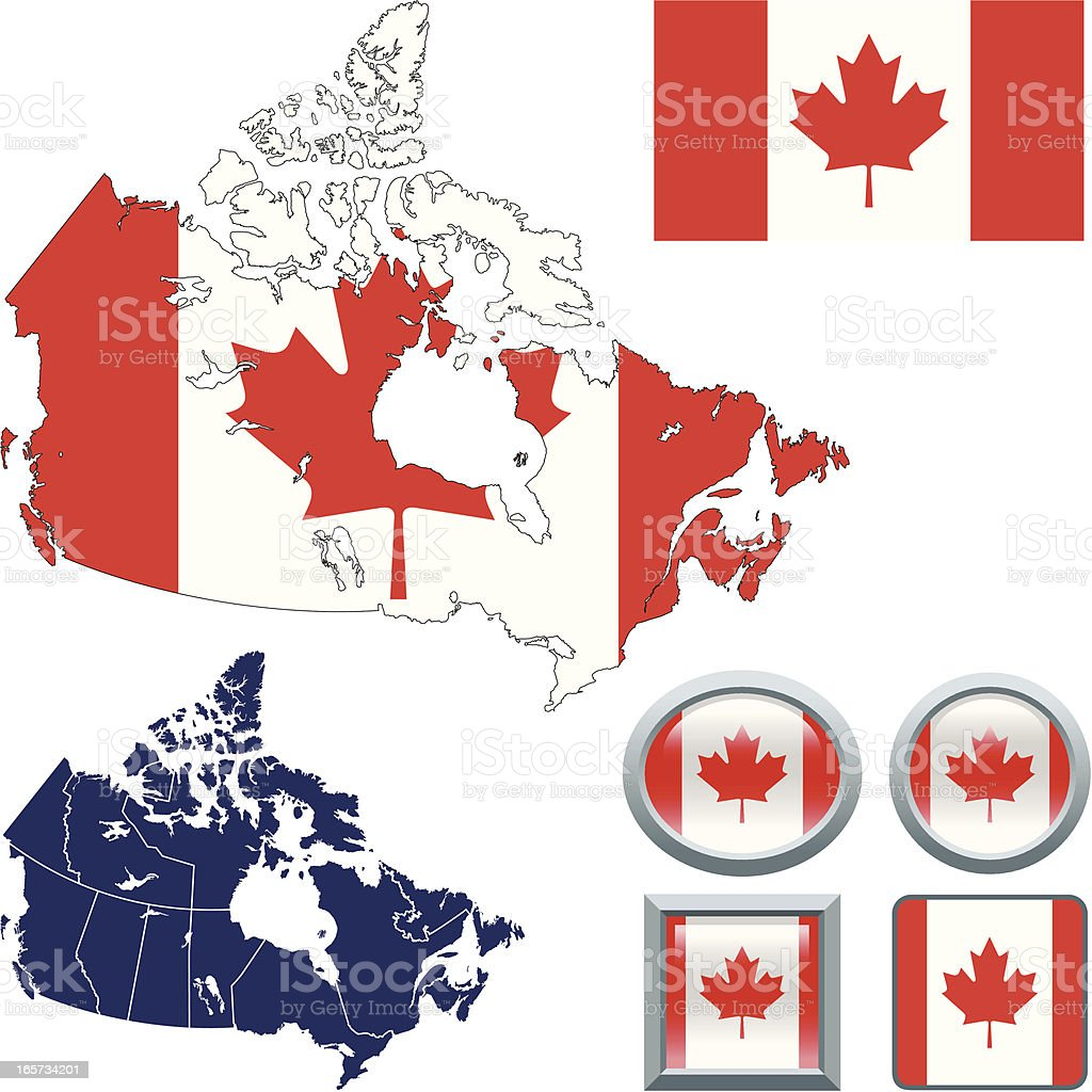 Canada flag with map royalty-free stock vector art