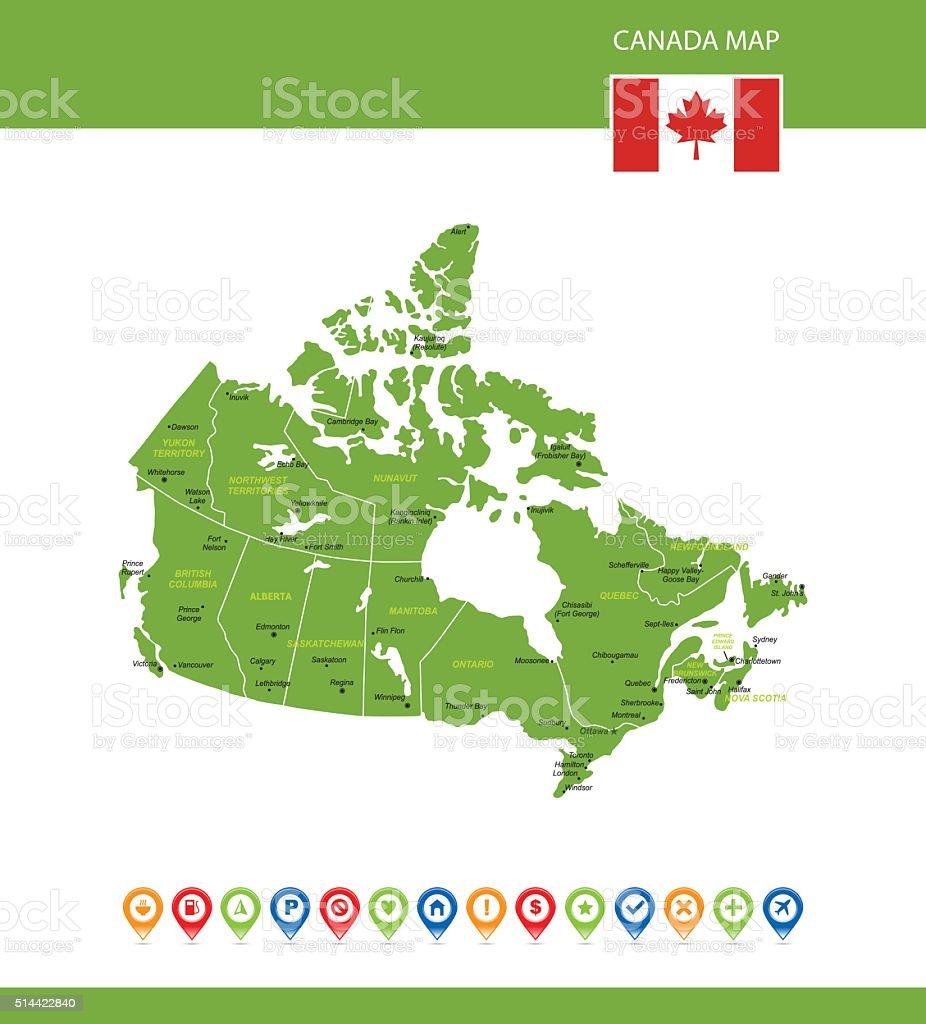 Canada Green Map vector art illustration