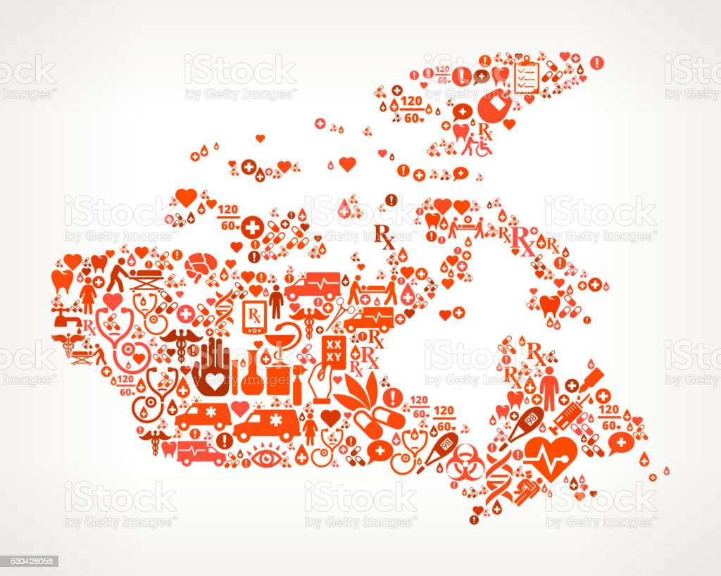 canada Healthcare and Medical Red Icon Pattern vector art illustration