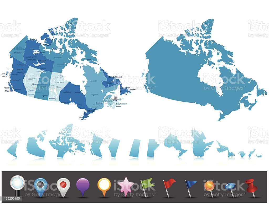 Canada - highly detailed political map royalty-free stock vector art