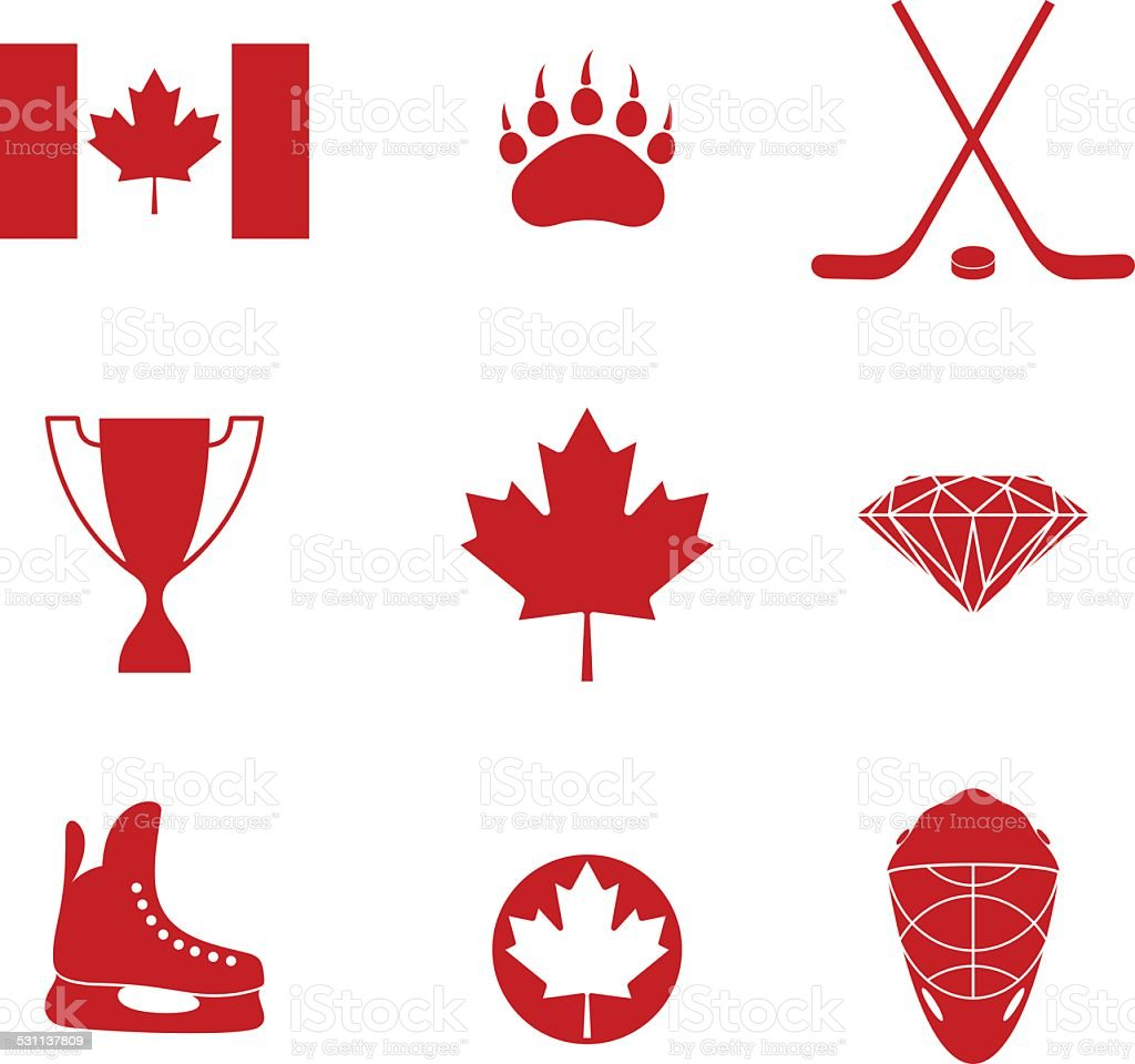 Canada. Icon set vector art illustration