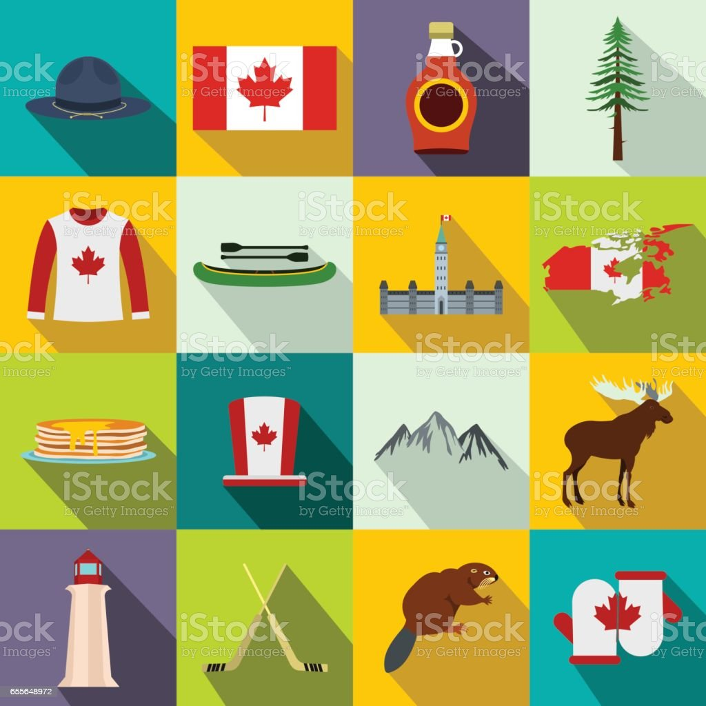 Canada icons vector art illustration
