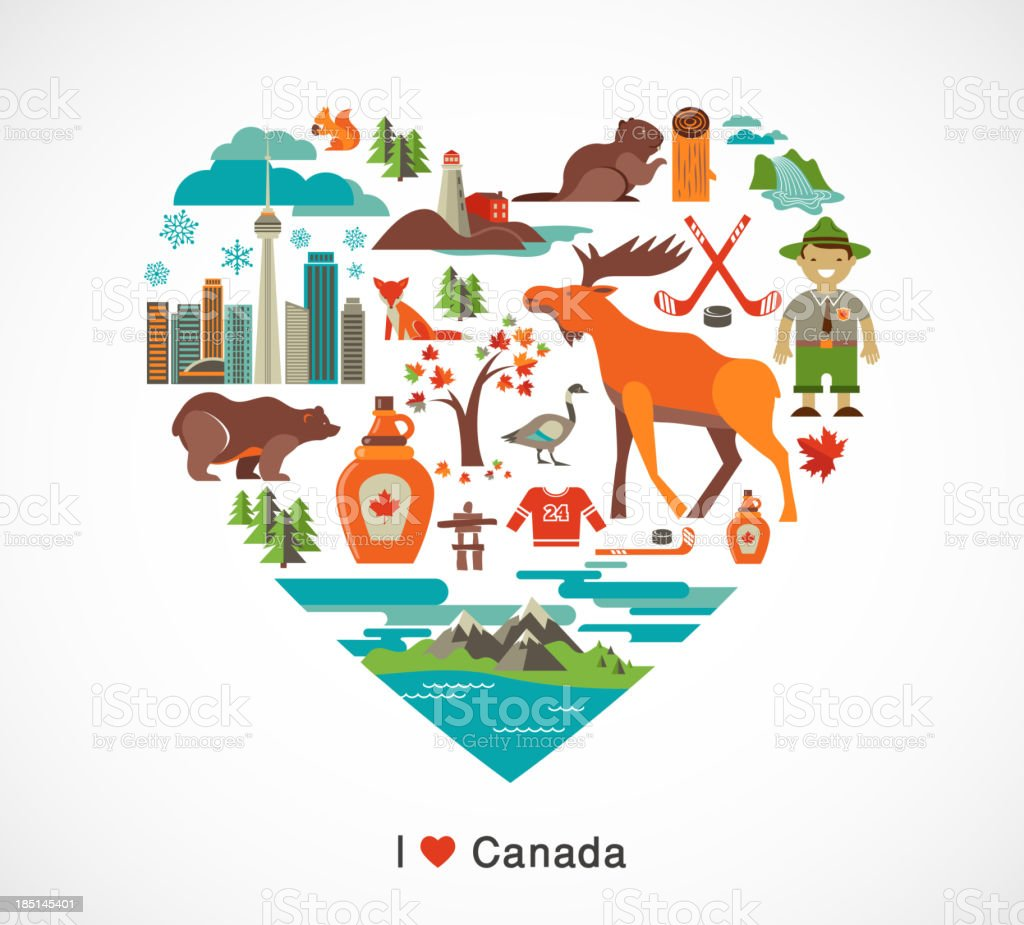 Canada love - heart with icons and elements vector art illustration