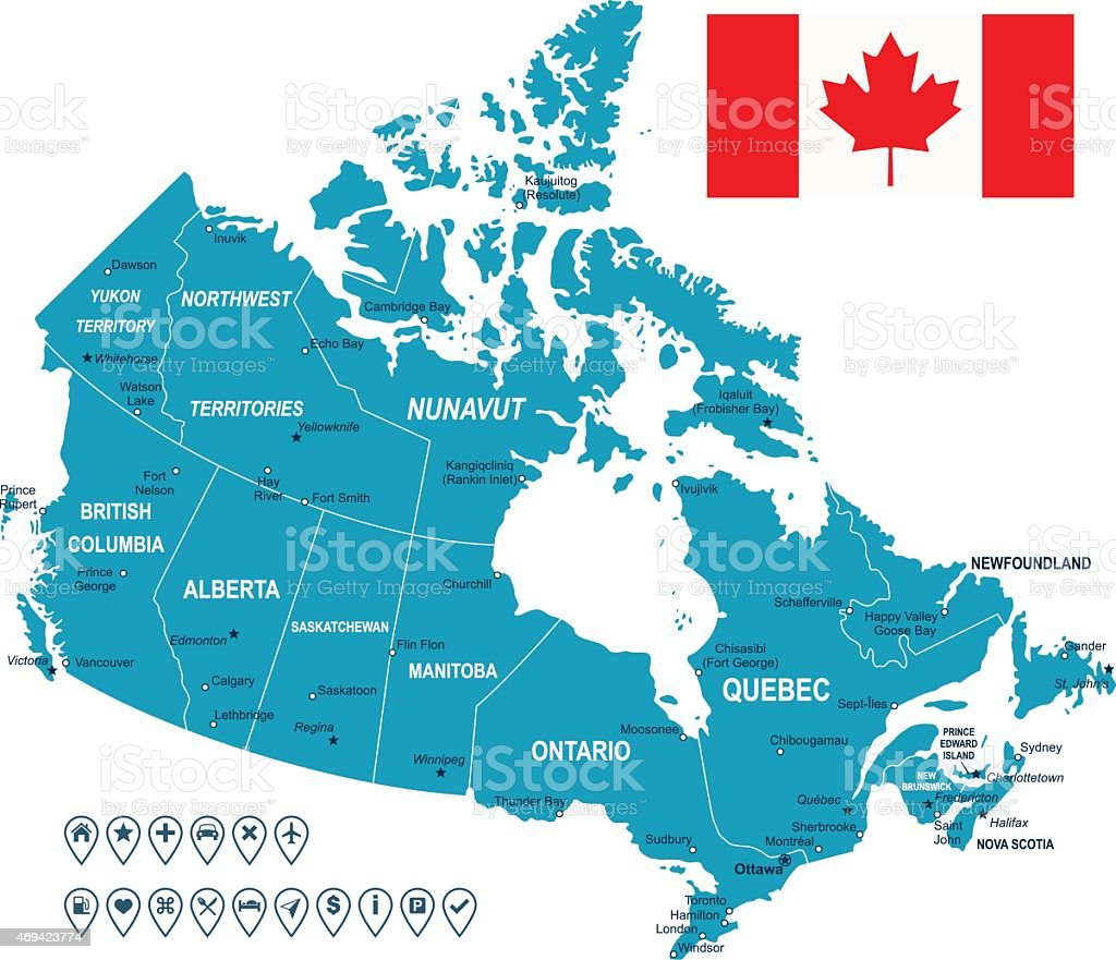Canada map, flag and navigation labels - illustration vector art illustration