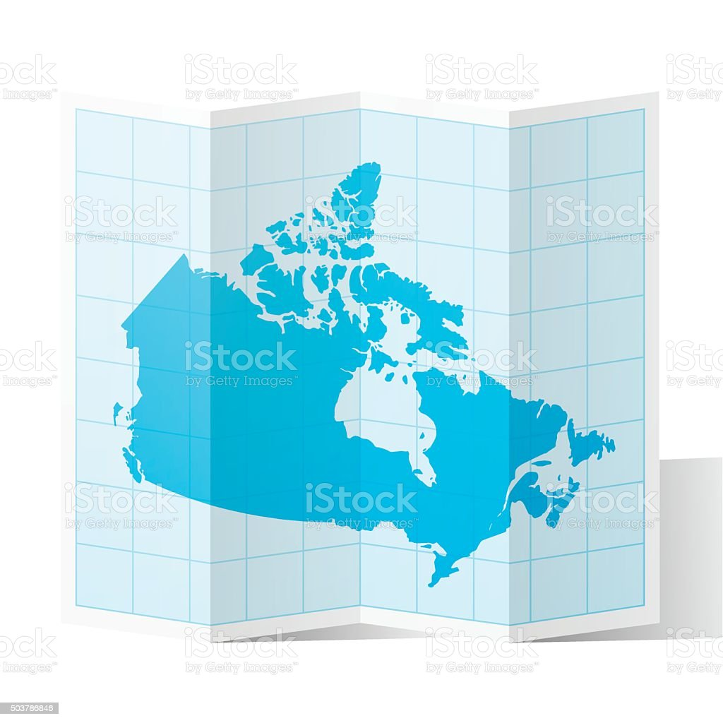 Canada Map folded, isolated on white Background vector art illustration