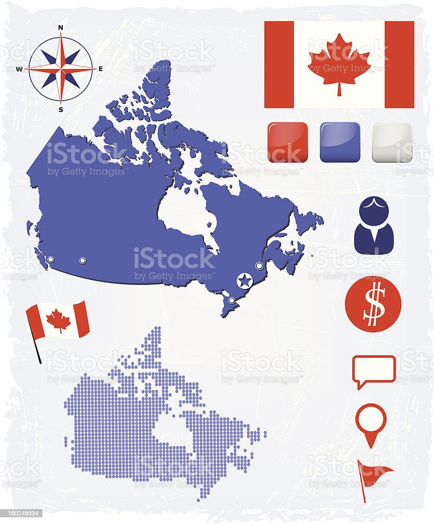 Canada map icons and buttons set royalty-free stock vector art