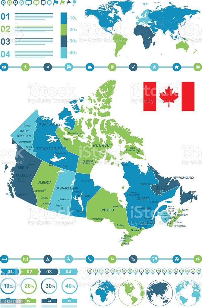 Canada Map Infographic vector art illustration