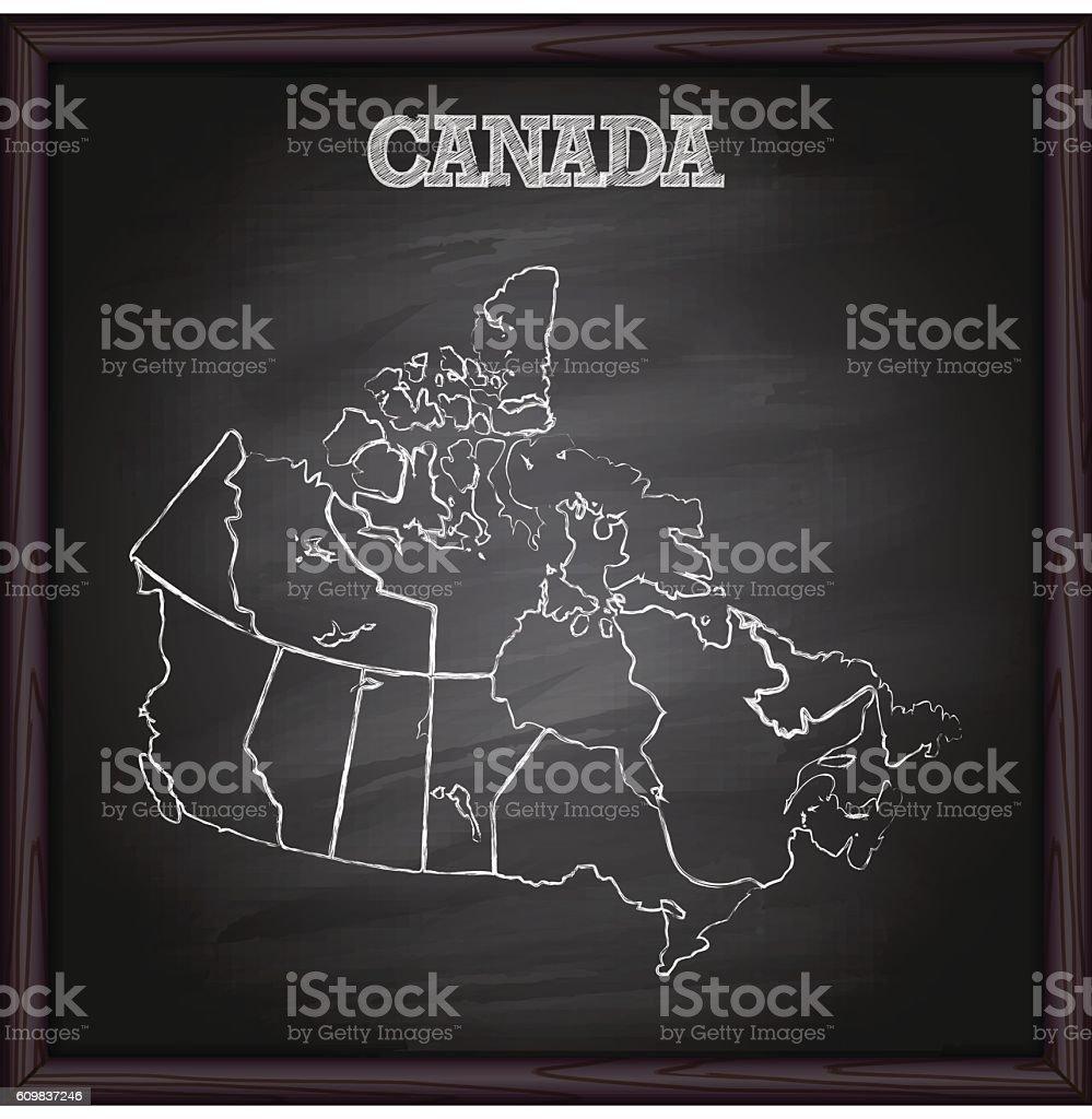 Canada map on blackboard vector art illustration