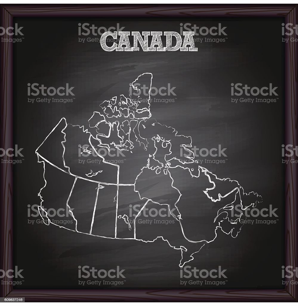 Canada map on blackboard vector art illustration