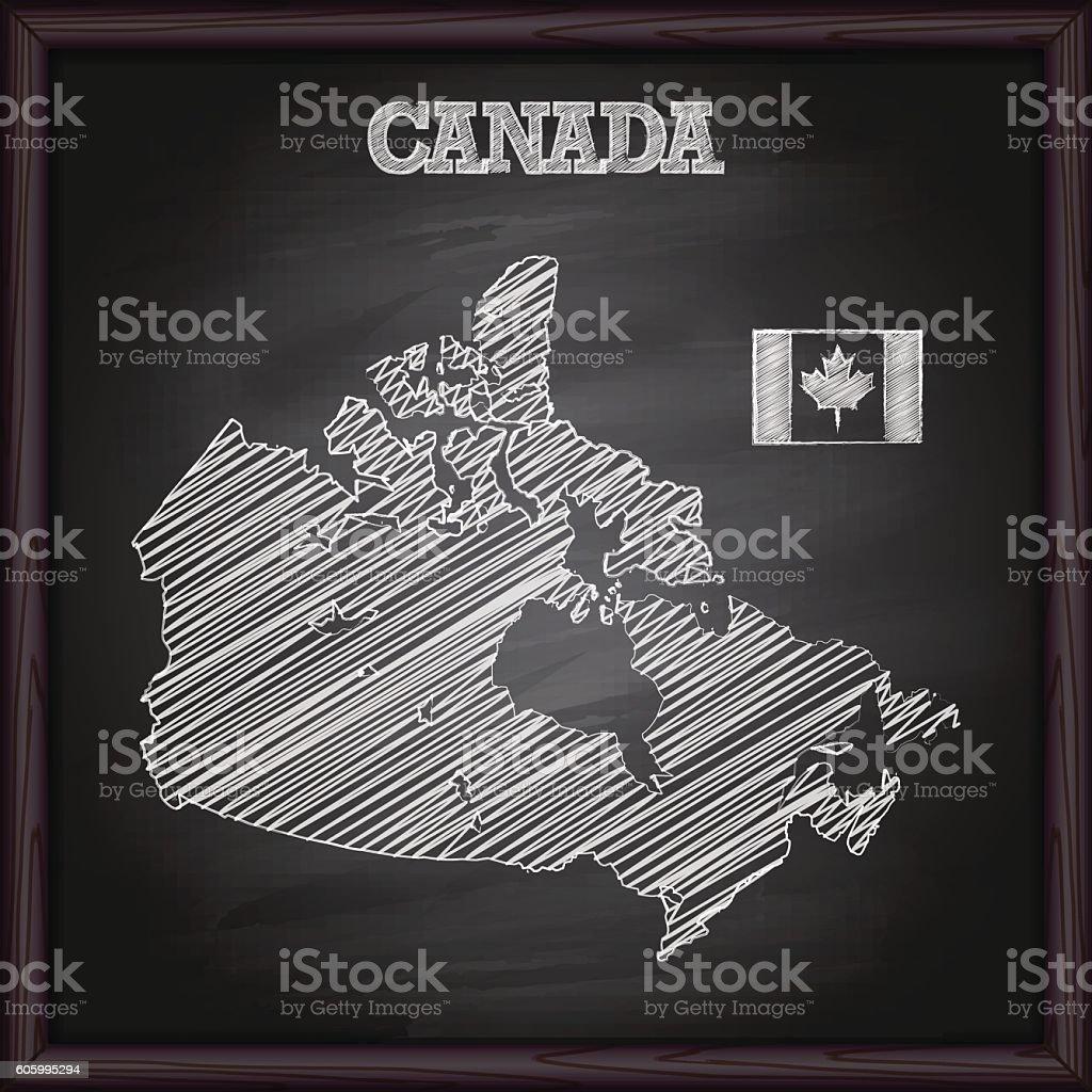 Canada map on chalkboard vector art illustration